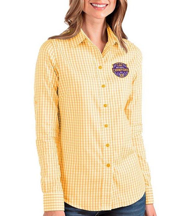 アンティグア レディース シャツ トップス Women's NCAA 2019 National Champions LSU Tigers Structure Long-Sleeve Woven Shirt LSU Tigers Gold