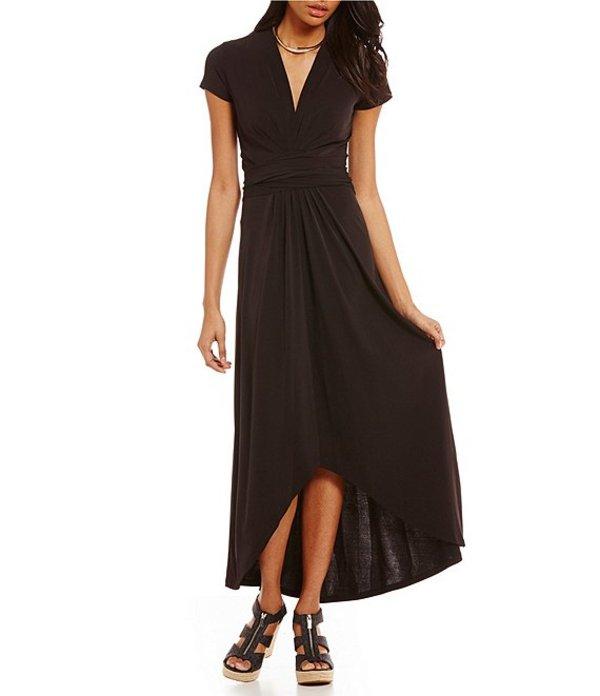 マイケルコース レディース ワンピース トップス Faux-Wrap Style Matte Jersey Hi-Low Maxi Dress Black