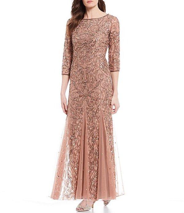 ピサッロナイツ レディース ワンピース トップス Beaded Lace Gown Rose