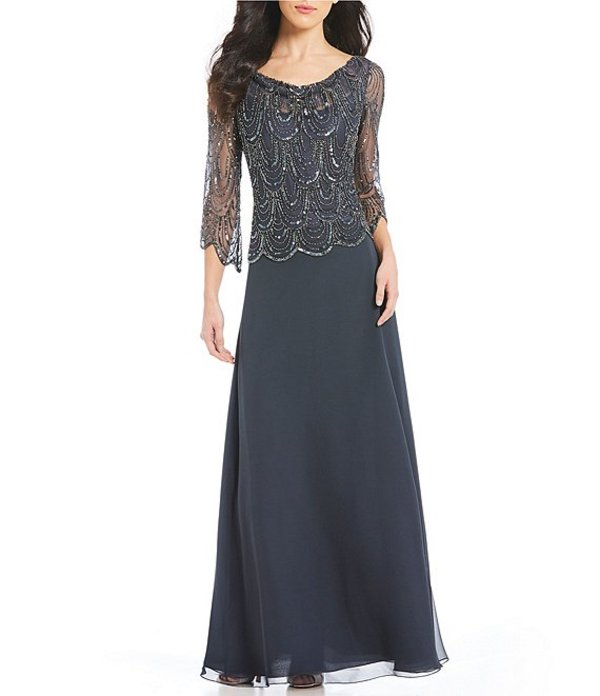 ジェーカラ レディース ワンピース トップス Cowl Neck Beaded Bodice Chiffon Gown Grey/Mercury/Gunmetal