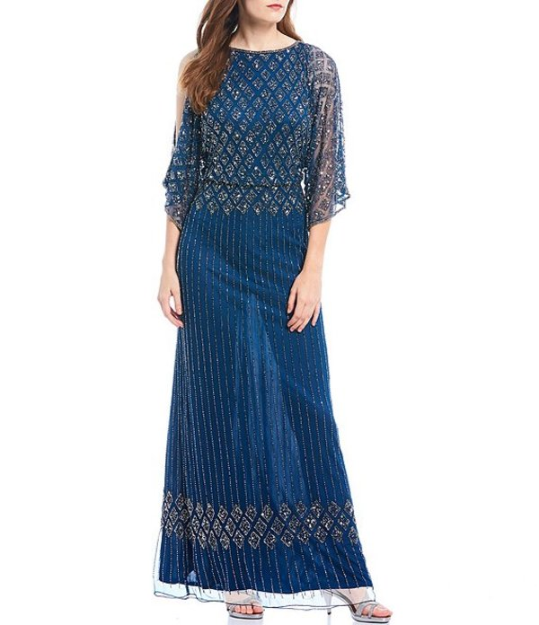 ピサッロナイツ レディース ワンピース トップス Petite Size Beaded Bodice Cold Shoulder Blouson Gown Petrol Blue