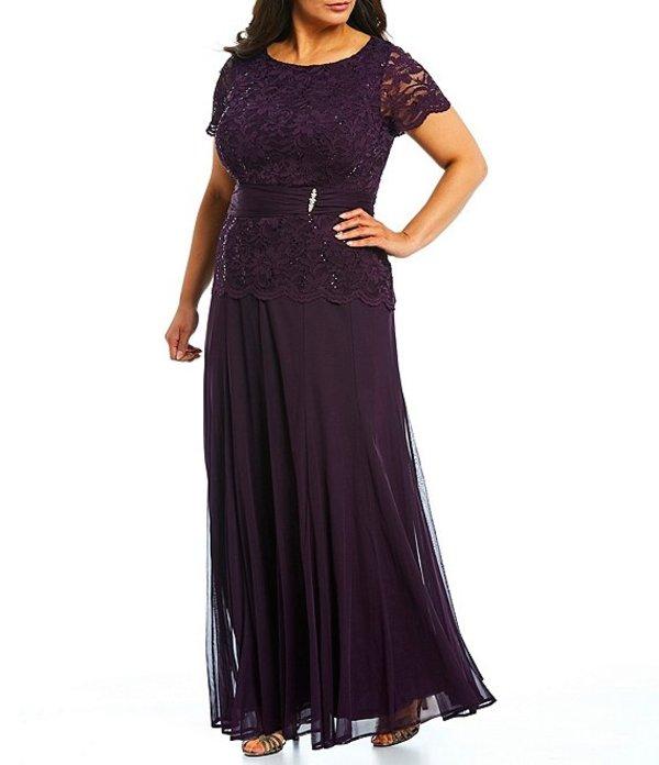 マリナ レディース ワンピース トップス Plus Size Lace Bodice Long Gown Plum