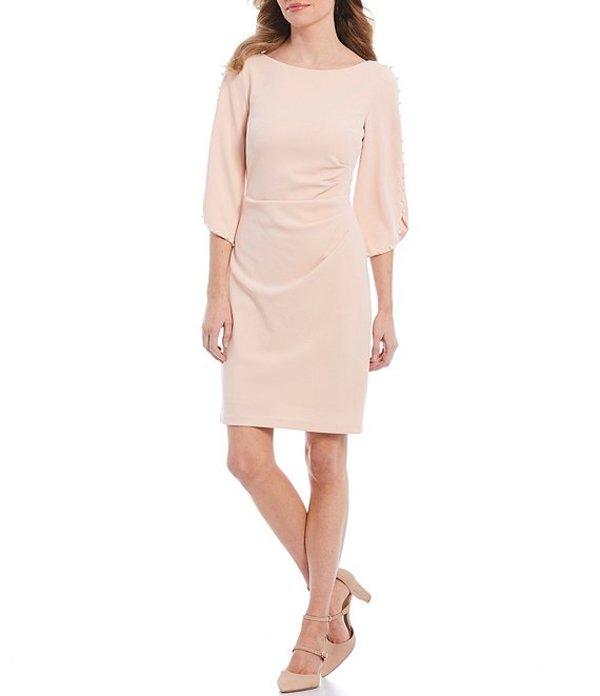 ジェシカハワード レディース ワンピース トップス Pearl Trim Split Sleeve Scuba Sheath Dress Blush
