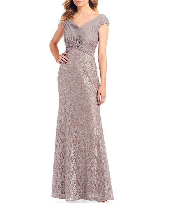 ジェシカハワード レディース ワンピース トップス Ruched Matte Jersey Chiffon Bodice Glitter Lace Gown Taupe