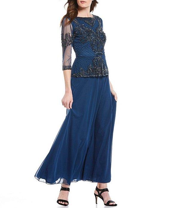 ピサッロナイツ レディース ワンピース トップス Two Piece Beaded Bodice Dress Petrol Blue
