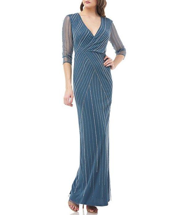 ジェイエスコレクションズ レディース ワンピース トップス Beaded Draped Surplice Gown Mineral Blue