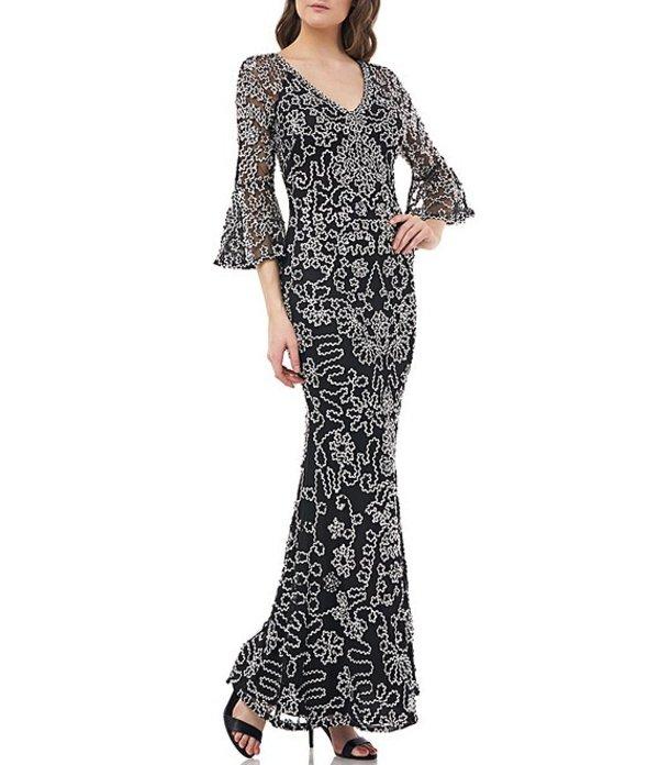 ジェイエスコレクションズ レディース ワンピース トップス V-Neck Soutache Bell Sleeve Mermaid Gown Black/Ivory