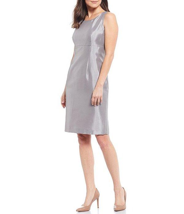 カスパール レディース ワンピース トップス Sleeveless Jewel Neck Shantung Sheath Dress Silver