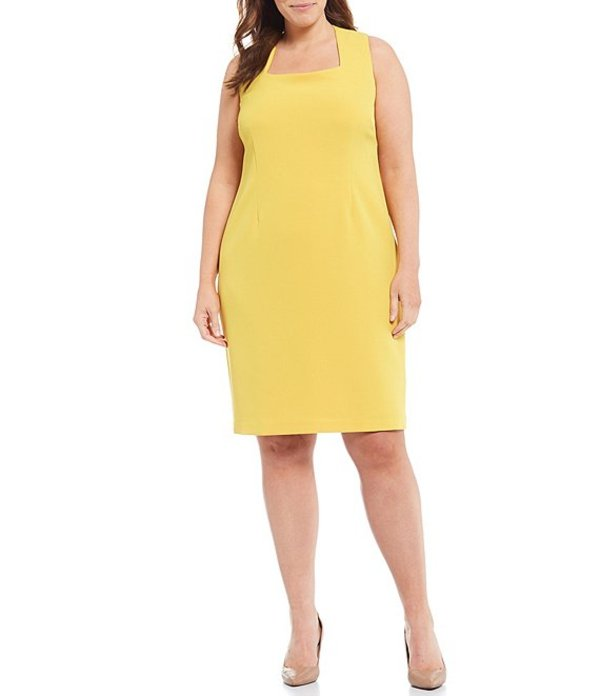 カスパール レディース ワンピース トップス Plus Size Sleeveless Square Neck Stretch Crepe Sheath Dress Dandelion