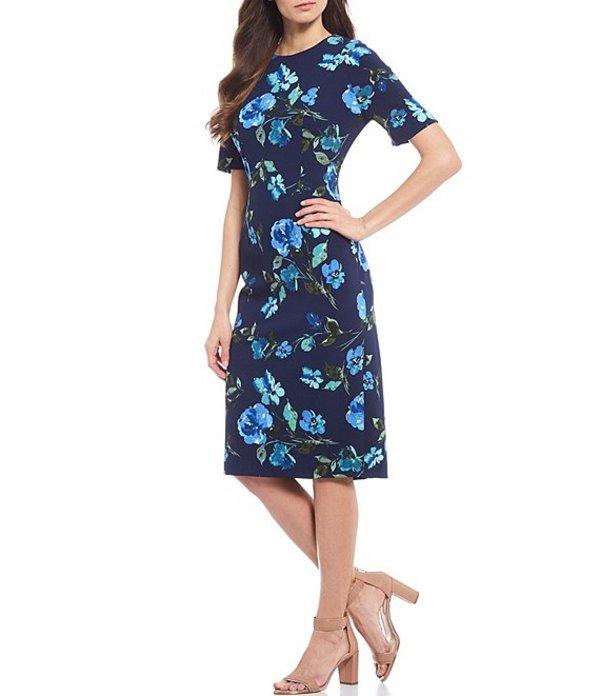 マギーロンドン レディース ワンピース トップス Petite Size Jewel Neck Floral Print Sheath Dress Navy/Blue