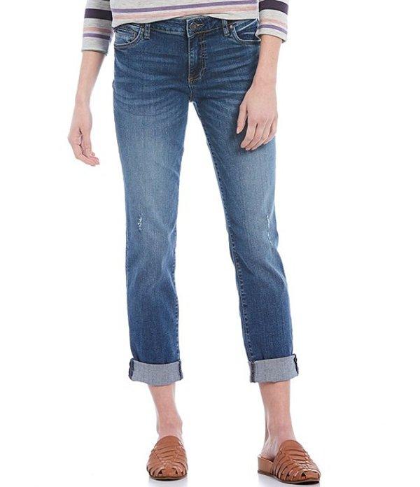 カットフロムザクロス レディース デニムパンツ ボトムス Catherine Straight Leg Destruction Detail Rolled Cuff Boyfriend Jeans Acclaim