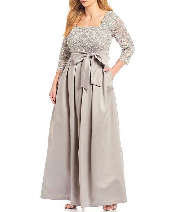 ジェシカハワード レディース ワンピース トップス Plus Size Lace Bodice 3/4 Sleeve Bow Detail Satin Ball Gown Grey