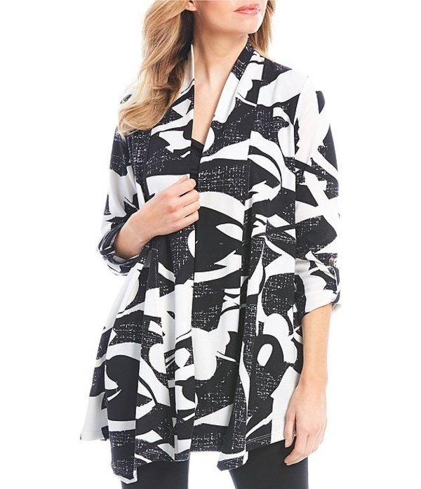 マルチプルズ レディース ジャケット・ブルゾン アウター Abstract Print Shawl Banded Collar Open Front Jacket Black/White Print