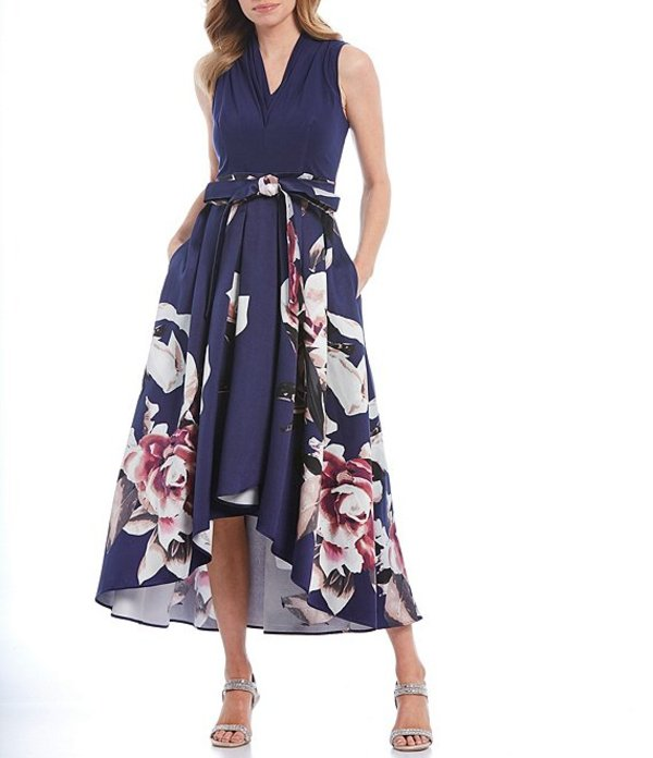 イグナイト レディース ワンピース トップス Floral Print Mikado Tie Waist Hi-Low Midi Dress Navy Multi