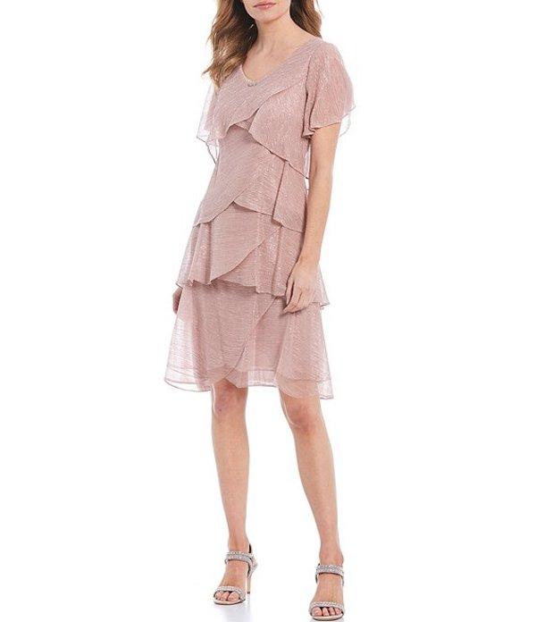イグナイト レディース ワンピース トップス Shimmer Tiered Ruffle Short Sleeve Dress Faded Rose