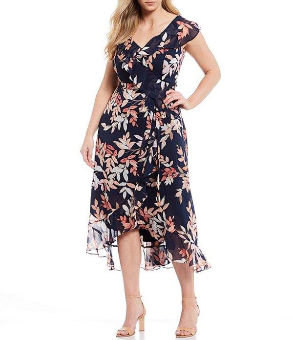 ロンドンタイムス レディース ワンピース トップス Plus Size Floral Print Chiffon Faux Wrap Flounce Hem Midi Dress Pink/Navy