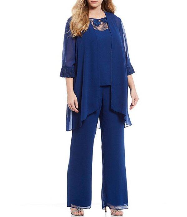 ルボ レディース カジュアルパンツ ボトムス Plus Size Chiffon Embroidered 3-Piece Pant Set Montana Blue