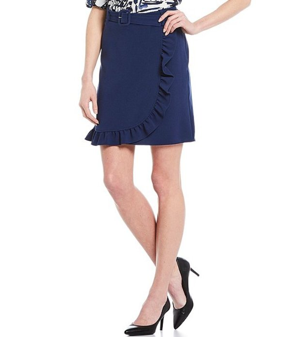カール ラガーフェルド レディース スカート ボトムス Double Weave Faux Wrap Skirt Medieval Blue