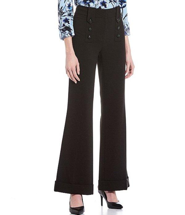 カール ラガーフェルド レディース カジュアルパンツ ボトムス Button Wide Leg Double Weave Pant Black