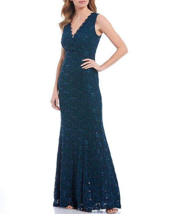 マリナ レディース ワンピース トップス Scalloped Glitter Lace Sleeveless Mermaid Gown Teal