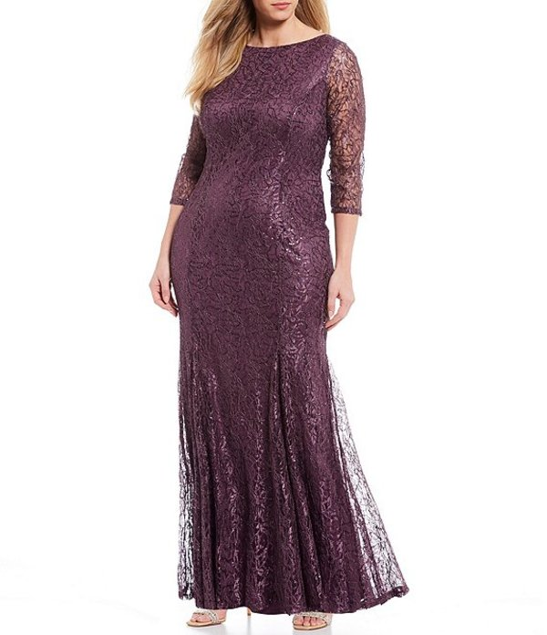 マリナ レディース ワンピース トップス Plus Size Stretch Sequin Lace Scoop Back Mermaid Gown Amethyst