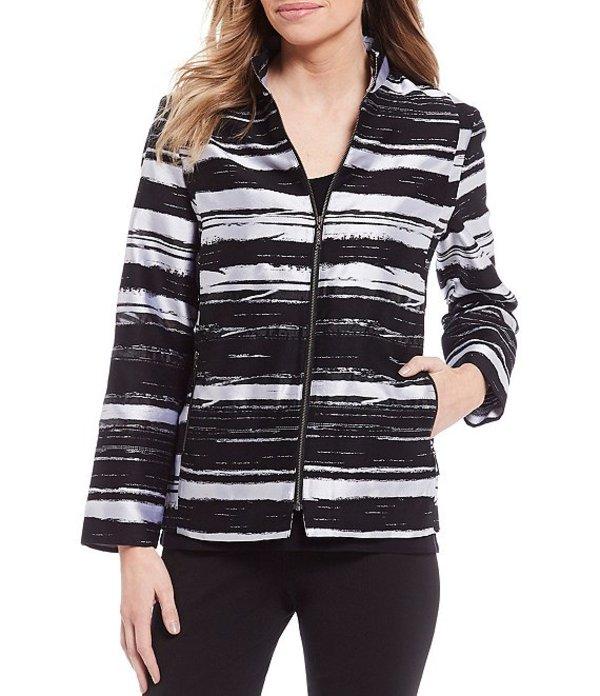 ミソック レディース ジャケット・ブルゾン アウター Marble Zip Front Long Sleeve Jacket Black/White