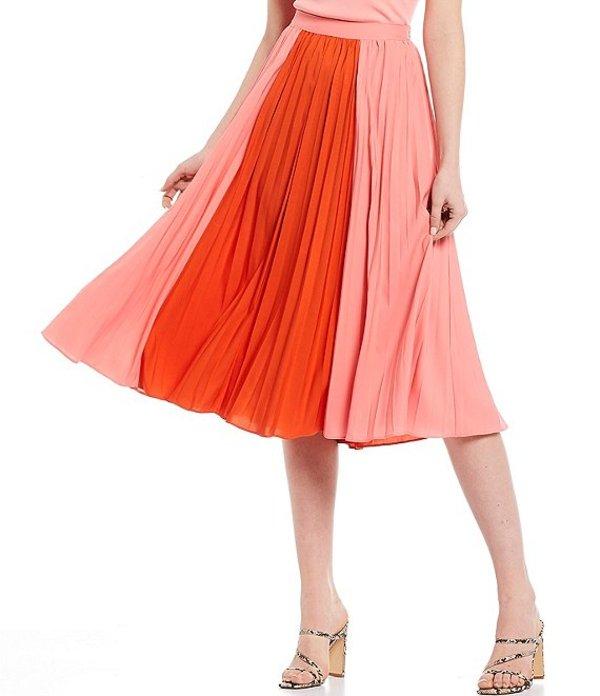 ルーシーパリ レディース スカート ボトムス Janessa Colorblock Pleated Midi Skirt Pink/Orange
