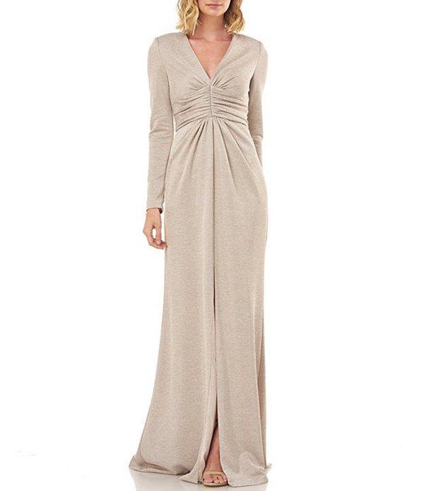 ケイ アンジャー レディース ワンピース トップス Kayla Lurex Metallic Knit Long Sleeve Rouched Gown Champagne