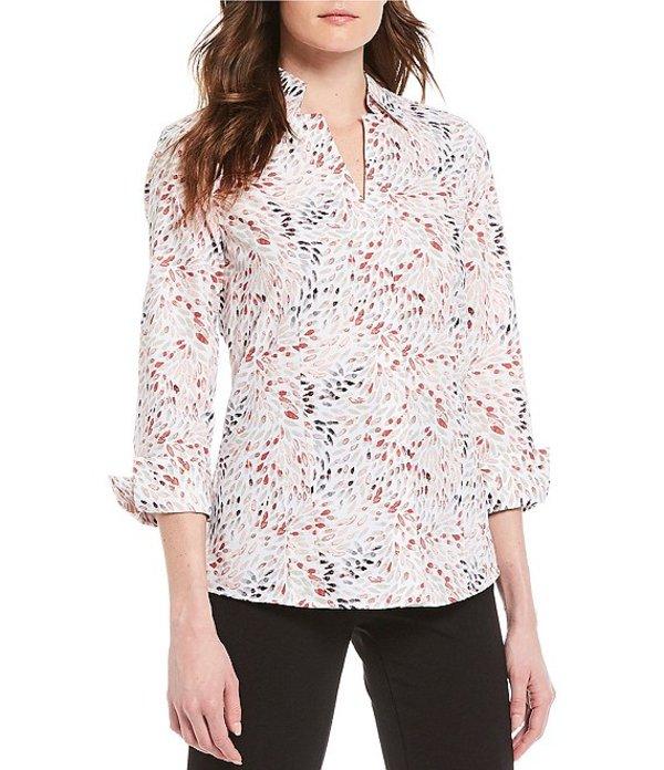 インベストメンツ レディース シャツ トップス Taylor Gold Label Non-Iron 3/4 Sleeve Button Front Floral Print Shirt Mosaic Floral