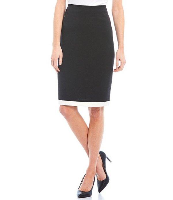 プレストンアンドヨーク レディース スカート ボトムス Lulu Contrast Hem Mid Rise Crepe Pencil Skirt Black/Ivory