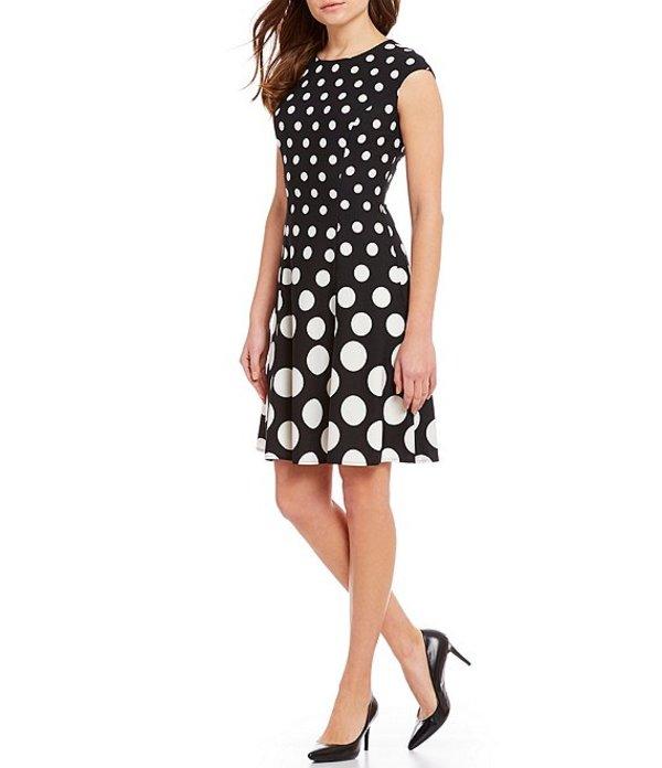 ロンドンタイムス レディース ワンピース トップス Petite Size Polka Dot Cap Sleeve A-Line Stretch Dress Black/White