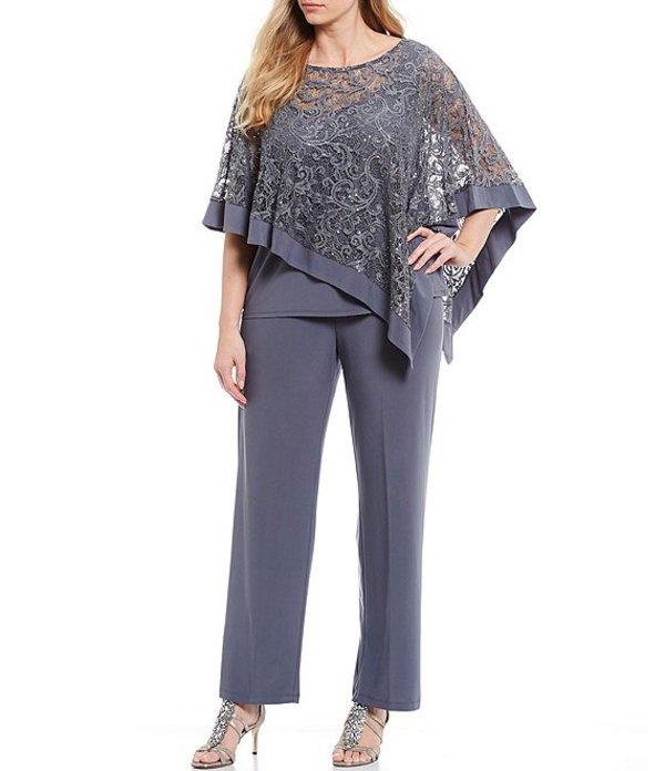 アールアンドエムリチャーズ レディース カジュアルパンツ ボトムス Plus Size Sequin Lace Jersey Knit 3-Piece Poncho Pant Suit Charcoal