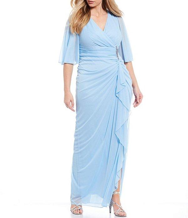 アドリアナ パペル レディース ワンピース トップス Plus Size Surplice V-Neck Embellished Waist Draped Ruffle Front Gown Blue Mist