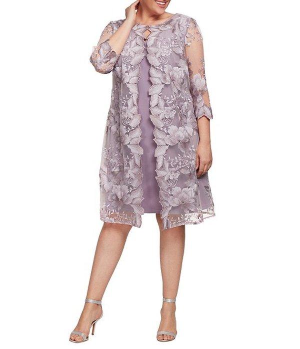 アレックスイブニングス レディース ワンピース トップス Plus Size Embroidered 3/4 Sleeve One Piece Faux Jacket Dress Smokey Orchid