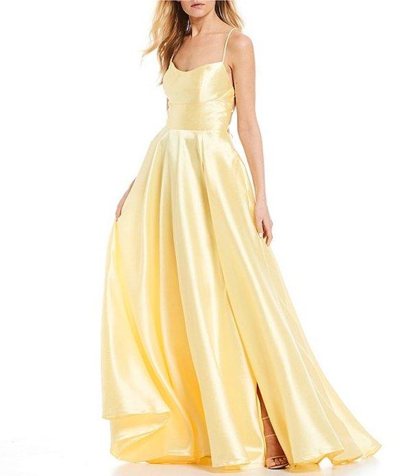 ビーダーリン レディース ワンピース トップス Lace Up Back Satin Ballgown Bright yellow