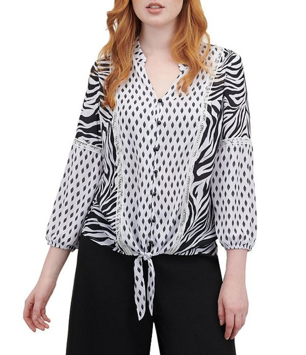 ピーター ナイガード レディース シャツ トップス Georgette Mixed Zebra Print V-Neck Tie Front Blouse White/Black/Zerbra