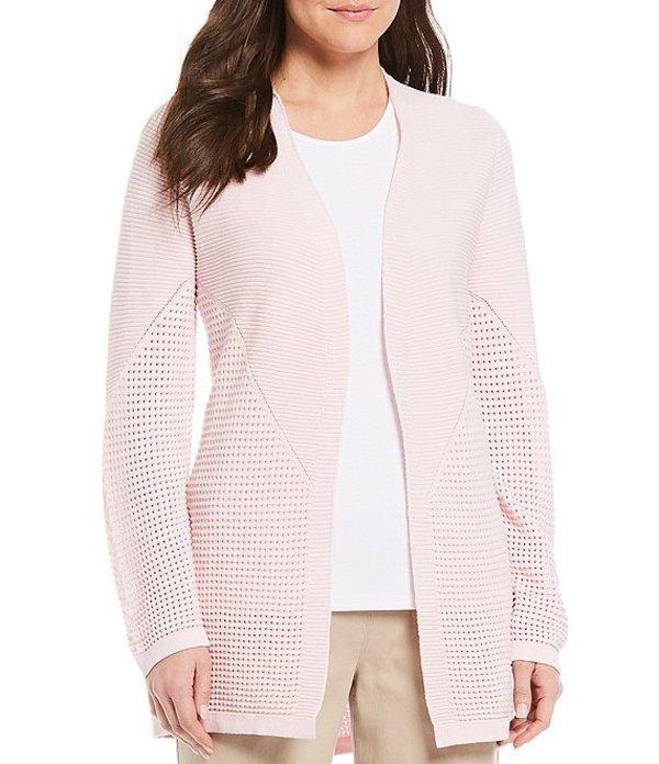 アリソン デイリー レディース ジャケット・ブルゾン アウター Textured Cotton Blend Open Front Long Sleeve Cardigan Shell Pink