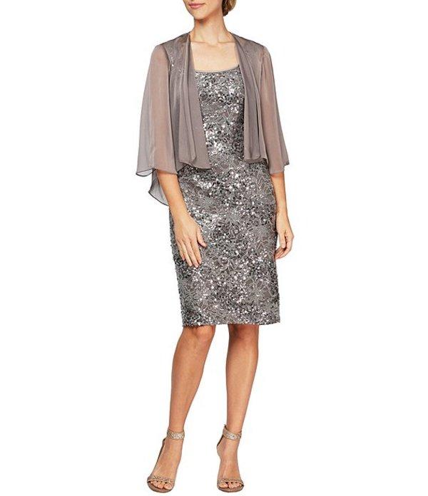 アレックスイブニングス レディース ワンピース トップス Petite Size Sequin Lace Jacket Dress Cafe