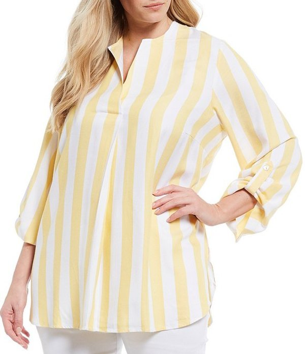 ルビーアールディー レディース シャツ トップス Plus Size Cabana Stripe Split V-Neck Roll-Tab Sleeve Twill Top Sun Multi
