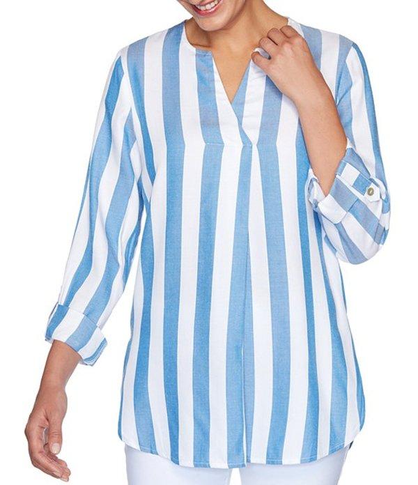 ルビーアールディー レディース シャツ トップス Petite Size Cabana Stripe Split V-Neck Roll-Tab Sleeve Twill Top Bluebird Multi
