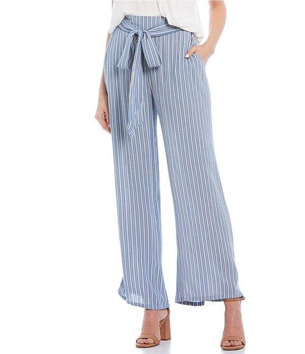 アンジー レディース カジュアルパンツ ボトムス Stripe Wide Leg Tie Front Palazzo Pants Blue