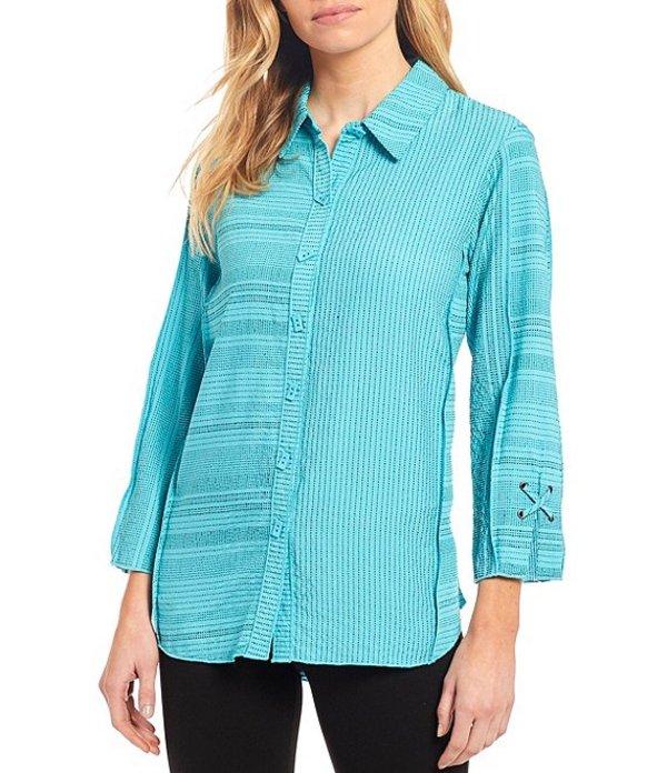 アリ マイルス レディース シャツ トップス Petite Size Mixed Stripe Crinkle Button Front Blouse Dusty Turquoise