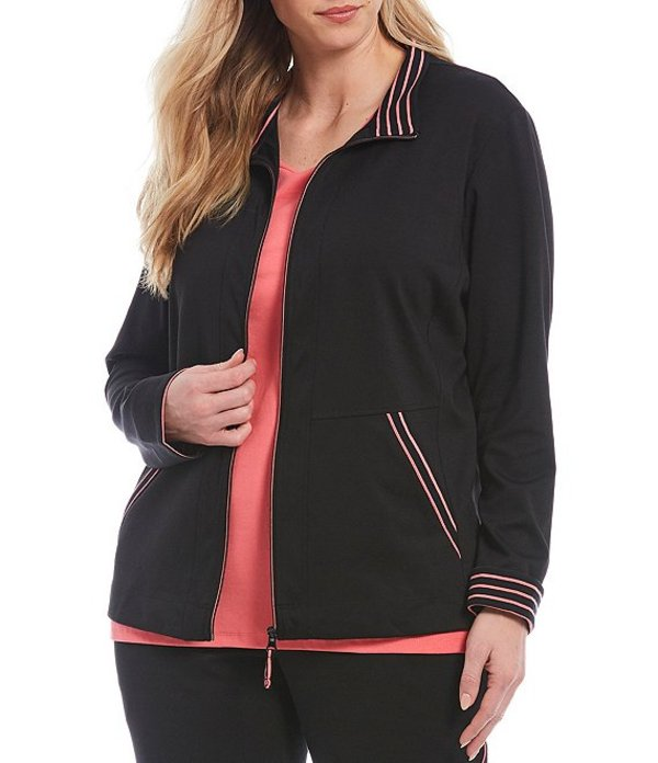 アリソン デイリー レディース ジャケット・ブルゾン アウター Plus Size San Remo Knit Contrast Trim Zipper Front Jacket Black