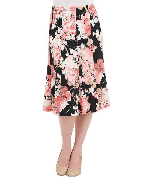 アリソン デイリー レディース スカート ボトムス Petite Size Floral Print Knit Jersey Pull-On Flounce Midi Skirt Coral Bouquet