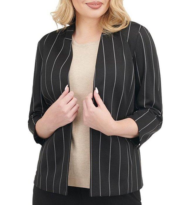 アリソン デイリー レディース ジャケット・ブルゾン アウター Petite Size Pinstripe Print Ponte Knit Open Front 3/4 Sleeve Blazer Black/Neutral Stripe
