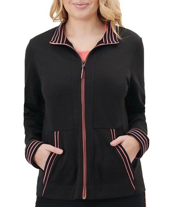 アリソン デイリー レディース ジャケット・ブルゾン アウター Petite Size San Remo Knit Contrast Trim Zipper Front Cotton Blend Jacket Black