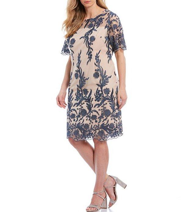 タハリエーエスエル レディース ワンピース トップス Plus Size Floral Embroidered Short Sleeve Sheath Dress Nude/Blue