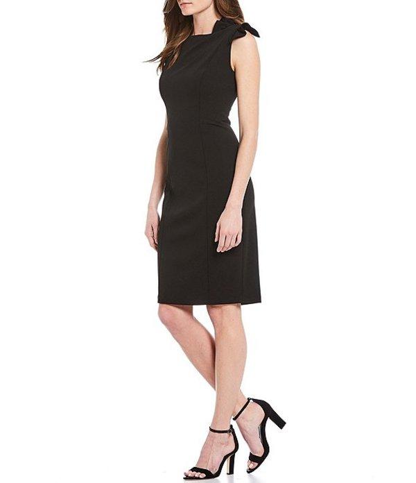 カルバンクライン レディース ワンピース トップス Bow Shoulder Crepe Sheath Dress Black