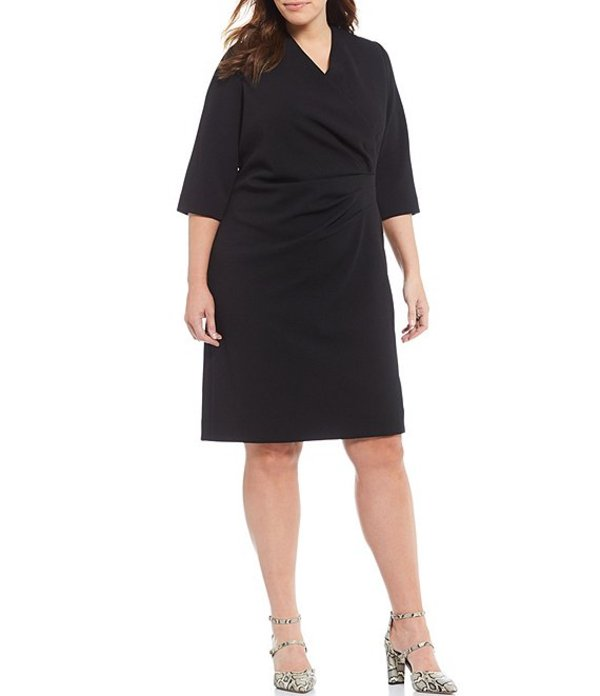 タハリエーエスエル レディース ワンピース トップス Plus Size Wrap Bodice Crepe Sheath V-Neck Dress Black