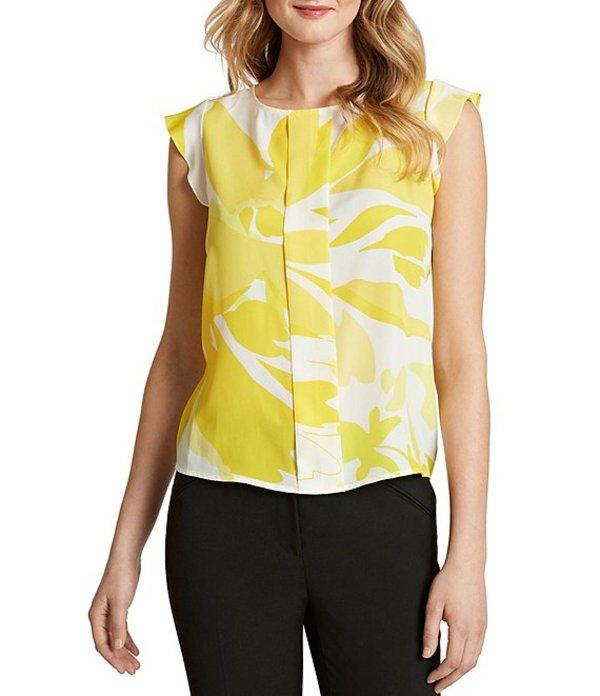 タハリエーエスエル レディース シャツ トップス Petite Size Cap Sleeve Floral Crepe de Chine Pleat Front Top Lemon Yellow